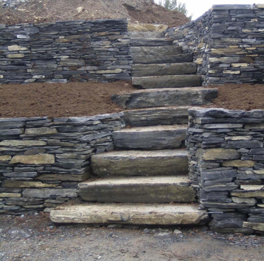escalier et muret d'ardoise