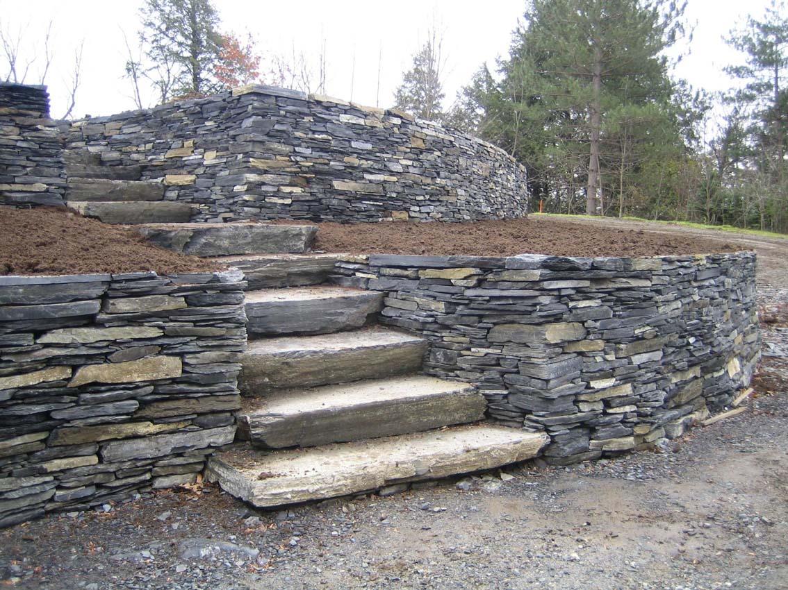 escalier d'ardoise, aménagement paysager